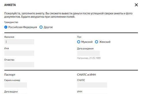 Заполнение анкеты Яндекс Дзен